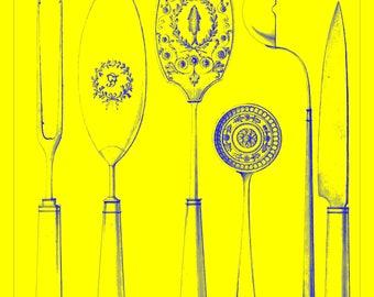Vintage Drawing Print Cutlery Designs, 1815–30