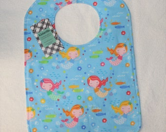 Light Blue Mermaids Print XL Toddler Bib