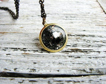 Faux Stone Necklace Galaxy Nebula Necklace Resin Jewelry Stone Geology Sparkle Minimalist Glitter Necklace Earth Elements Necklace