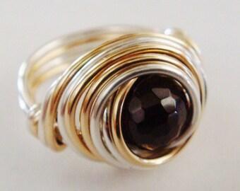 January Birthstone Ring  Garnet Ring  Garnet Sterling Silver and 14K Gold Filled Ring   Red Garnet Ring   January Birthday
