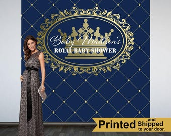 Royal Prince Baby Shower Backdrop- Photo Booth Backdrop-Little Prince Baby Shower Backdrop, Welcome Little Prince Backdrop