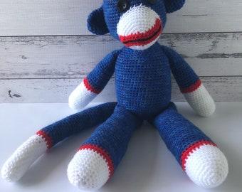 Crochet Sock Monkey Toy, with Lavender pouch inside