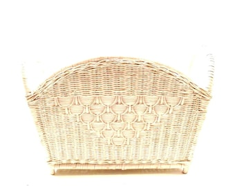 Vintage White Wicker Magazine Rack, Painted Wicker Basket, Newspaper Rack, Mid Century Magazine Rack