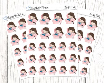 Lazy Day (Lizzie Collection) | Lazy, Me Time, Chill Day, Planner Stickers