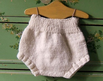 Cream Wool Soaker Cloth Diaper Cover Hand Knit Woolen Nappy Overnight Cover by Llamajama