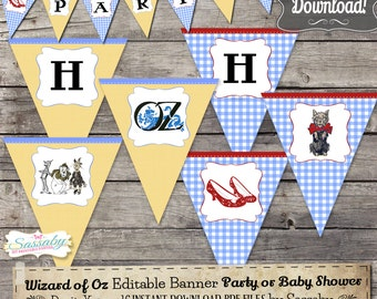 Wizard of Oz Party Banner - INSTANT DOWNLOAD - Editable & Printable / Birthday / Baby Shower / Bunting / Decoration / Decor