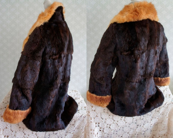 Coat Coat fur 70s Goat and Boho Fur style Vintage and collar abundant lapels Great Fur soft EqRqTAvw