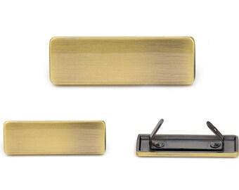 Blank Metal Name Tags Metal Labels Luggage Tags Studs Brush Brass B0305 10 pcs.
