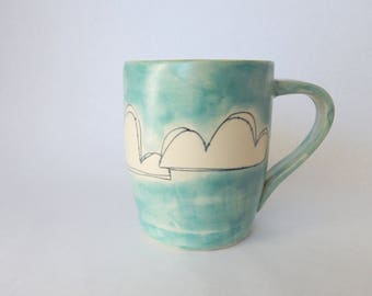 Handmade Mug, Clouds and Sunshine, Ceramic Mug, Satin Turquoise, Watercolor