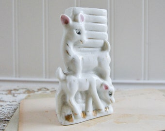 Vintage Small White Deer Bud Vase - Tiny Figurine Ceramic Porcelain Japan
