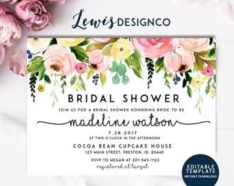 Bridal Shower Invitation | Watercolor Floral Bridal shower Invite | Shower Card Instant Download DIY Printable Editable Card Summer Wedding