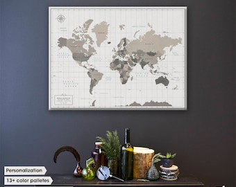 Pin world map / World map with pins / World Map Wall Art / Large World map canvas / World map pin board
