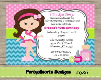 DIY Spa Pamper Party Childrens Invitations