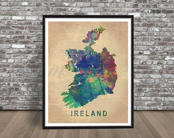 Vintage Ireland watercolor print Map watercolour country painting city art Illustration skyline Irish Celtic green Dublin Valentines Gift
