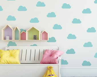 Wall Decals Clouds 25 Metallic Gold, Silver, White or Color Nursery Clouds Vinyl Wall Decals, Peel and Stick Removable Wall Decal Sticker