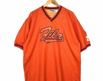 Rare!! Vintage Fila Spellout Baseball Jersey Large Size