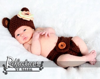 Newborn Bear Hat and Diaper Cover Set, Teddy Bear Baby Crocheted Hat and Diaper Cover, Newborn Photo Prop