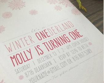 Snowflake birthday invitation, Winter Onederland 1st Birthday Party Invitation