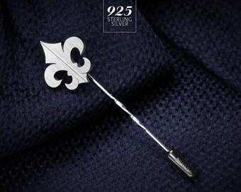 Tie pin sterling silver - Fleur de lis Lapel Pin - Wedding lapel pin - Grooms boutonniere