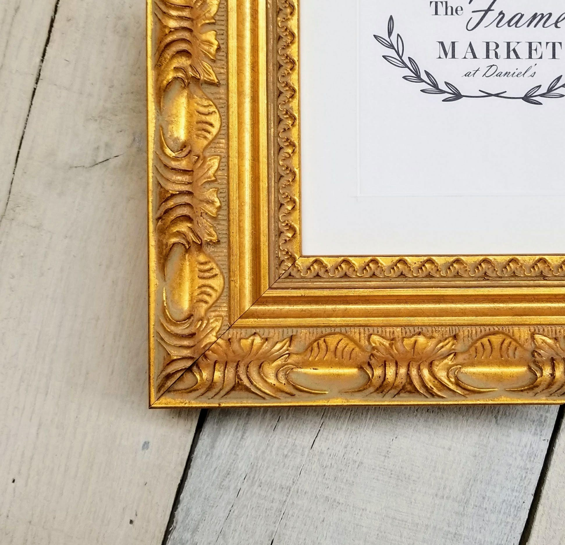 Versailles Gold Wood Picture Frame with White Mat 8x10, 9x12, 11x14 ...
