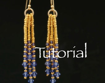 Waterfall Earrings Tutorial with Seed Beads and Crystals