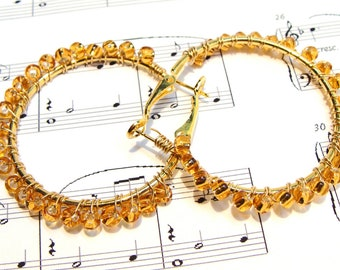 Gold Hoop Earrings with Gold Wire Wrapped Beads