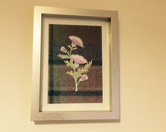 Scottish tartan wool frame with embroidered thistle