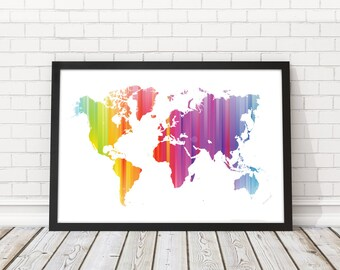 Rainbow Wall map, World Map Rainbow, Color World map art, Contemporary art, Rainbow wall art, World map wall art, PRINTABLE art, Travel map