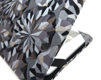 iPad Mini cover - Facets - diamond print case for iPad mini - black and grey unisex tablet cover for men or women - gem pattern