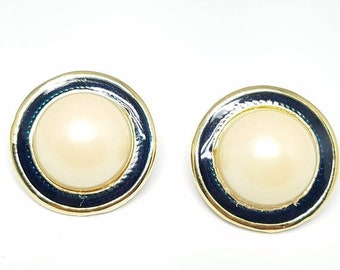 30% Off Sale Vintage Clip On Earrings Ivory Color and Navy Blue Enamel Faux Pearls