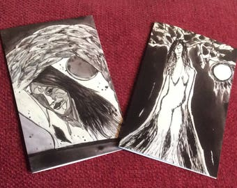 Set of two cards, blank inside, women of nature, poetry