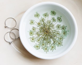 Ceramic Flower Dish, Ring Dish, Floral Ring Holder, Queen Anne's Lace Dish, Trinket Holder