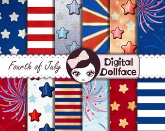 4th of July Digital Paper, Independence Day Crafts / Patriotic Digital Paper: Red, White, and Blue  / Stars and Stripes Party