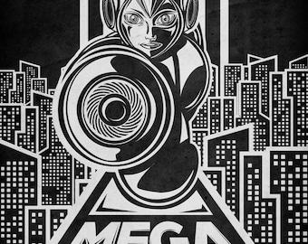 Mega Man Geek Line Artly - signed museum quality giclée fine art print