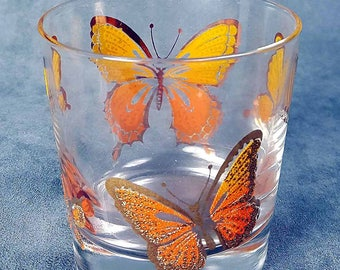 7 Libbey Gilded Butterfly Tumblers Mid Century Barware Hollywood Regency