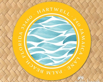 """Watercolor Waves Return Address Labels - 1.5 Inch, 2"""", 2.5"""" or 3"""" Round Stickers - Personalized Circle Envelope Seals - Beach Ocean Theme"""
