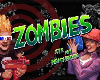 Zombies Ate My Neighbors - Digital Art Print - Super Nintendo Tribute
