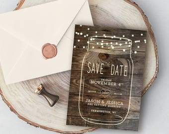 Mason Jar Save the Date, Rustic Save the date, Country save the date, Woodland Wedding, Design with Barnwood