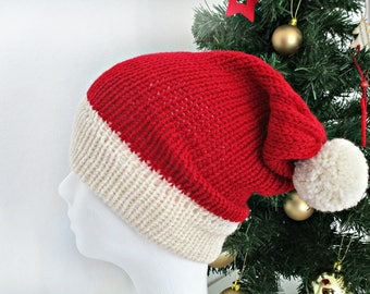Knit christmas hat Knit Santa hat Red christmas hat photo prop Adult Santa Claus hat Pom pom hat Red and white hat Santa Claus costume