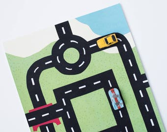 Car Play Mat for Micro toy cars. Design #1: Roundabout.