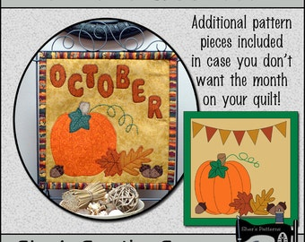 PDF Pattern for October Quilt Block of the Month, Applique Quilt Pattern, Pumpkin Quilt, Fall Quilt - Sewing Pattern, Tutorial, DIY