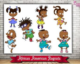 African American Rugrats, Rugrats Afro American Clip art, Rugrats Set, Rugrats Instant Download