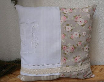 """Shabby """"flowers and lace"""" pillow with Monogram"""