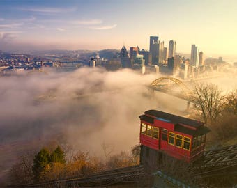 Pittsburgh Incline Photo, red, gold, blue, color fine photography prints, Another Morning