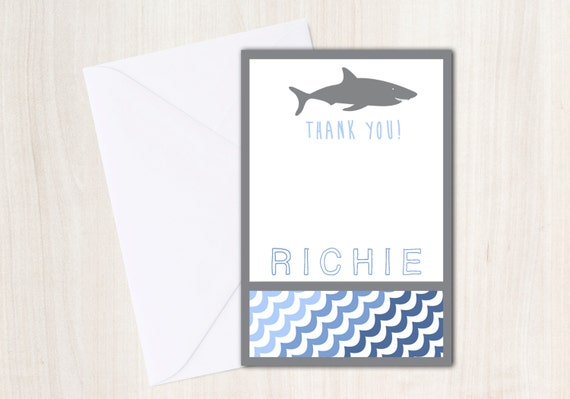 SHARK Thank You Notes with personalization - Shark Party Supplies