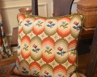 Vintage Mid Century Modern 1960s cross stitch embroidered floral throw decorative pillow 14 square