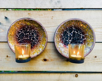 Matching Mosaic colored glass hanging candle holders