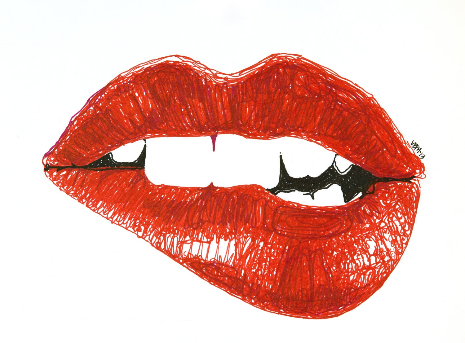 Fine Art Giclee Print Marker Drawing Biting Lip