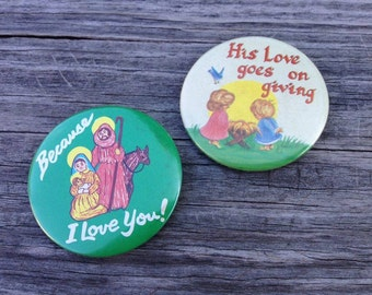 Religion Buttons - Christian Button - Jesus Buttons - Vintage Flair - Backpack Flair