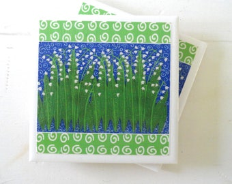 Lily of the Valley Ceramic Drink Coasters-Set of 4